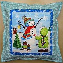 Úžitkový textil - Povlak na vankúš - Kamarát snehuliak - 4415377_