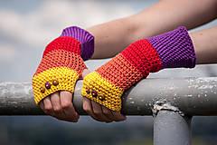 Rukavice - Bavlnené fialovo oranžovo žlté rukavice - 4418679_