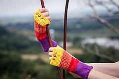 Rukavice - Bavlnené fialovo oranžovo žlté rukavice - 4418686_
