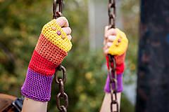 Rukavice - Bavlnené fialovo oranžovo žlté rukavice - 4418687_