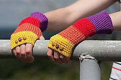 Rukavice - Bavlnené fialovo oranžovo žlté rukavice - 4418688_