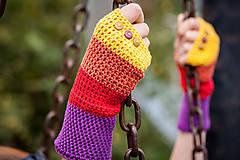 Rukavice - Bavlnené fialovo oranžovo žlté rukavice - 4418689_