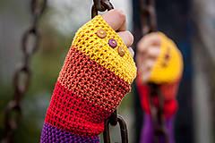 Rukavice - Bavlnené fialovo oranžovo žlté rukavice - 4418691_