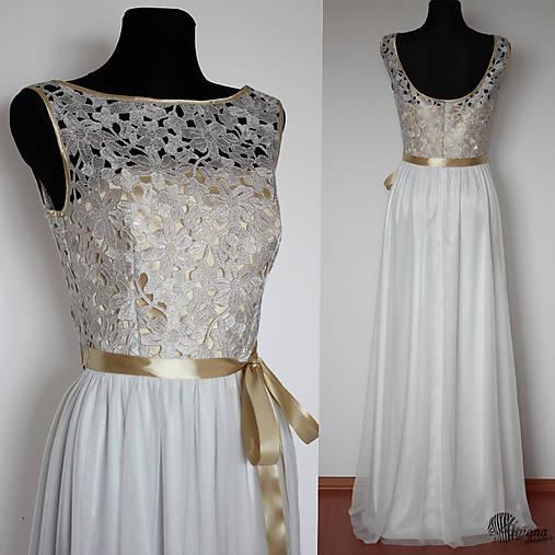 Spoločenské šaty s tylovou sukňou a zlatým vrškom   Dyona - SAShE.sk ... ac7de8f93f7