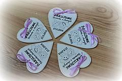 Magnetky - Srdiečka svadobné - magnetky - 4420894_