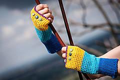 Rukavice - Bavlnené fialovo žlto modré rukavice - 4425629_