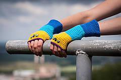 Rukavice - Bavlnené fialovo žlto modré rukavice - 4425631_