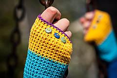 Rukavice - Bavlnené fialovo žlto modré rukavice - 4425632_