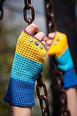 Rukavice - Bavlnené fialovo žlto modré rukavice - 4425633_