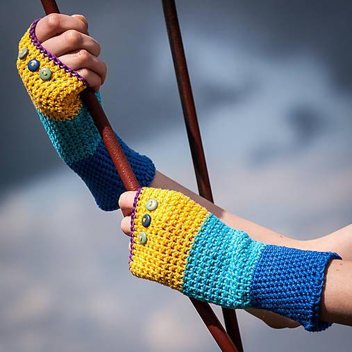 Bavlnené fialovo žlto modré rukavice