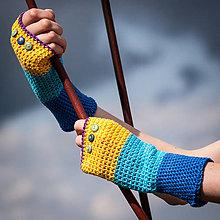 Rukavice - Bavlnené fialovo žlto modré rukavice - 4425634_