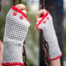 Rukavice - Šedo červené rukavice s gombíkmi - 4429660_