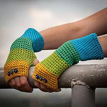 Rukavice - Bavlnené modro zeleno žlté rukavice - 4429772_