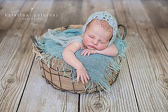 Detské čiapky - Pavučinkový čepček (Zelená) - 4426625_
