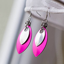 Náušnice - Náušnice Double s malou stříbrnou (Ružové) - 4427266_