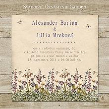 Papiernictvo - Svadobné oznámenie Garden - 4427412_