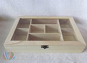 Polotovary - Krabica 8 priečinkov presklená, ihneď - 4428292_
