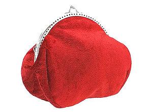 Kabelky - Zamatová kabelka červená -  taštička  0506 - 4433829_