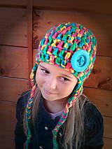 Detské čiapky - Háčkované zimná farebnica  - 4432661_