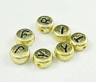 Korálky - Plastové korálky 100ks 7x3,5mm otvor:1mm ploché zlaté - 4436093_
