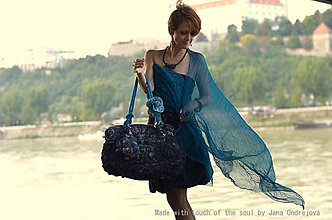 Veľké tašky - Dark Collection-plstená kabela °TICHO CEZ BÚRKU° - 4434611_