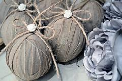 Dekorácie - Sada 6 shabby chic vianočných gúľ - 4435115_