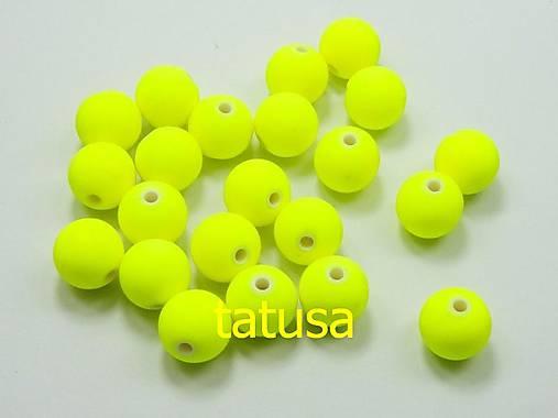 Korálky - plastové neón 6mm -žlté 50ks