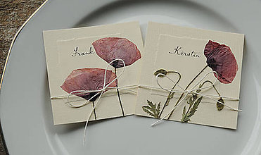 Papiernictvo - KVITNÚCA LÚKA menovky na tanier - 4440227_
