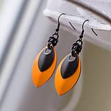 Náušnice - Náušnice Double s malou černou (Oranžové) - 4438451_