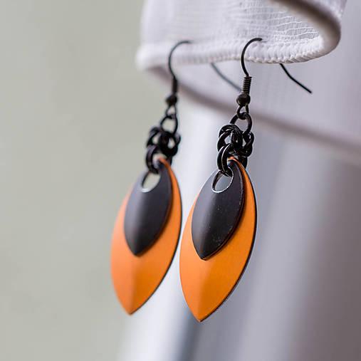 Náušnice Double s malou černou (Oranžové)