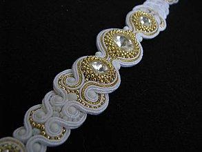 Náramky - White/Gold náramok...soutache - 4442202_