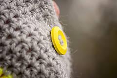 Rukavice - Prúžkované žlto šedé s gombíkom - 4446346_