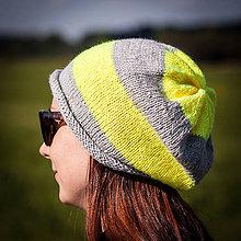 Čiapky - Prúžkovaná neónovo žltá - 4444529_