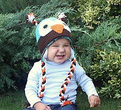 Detské čiapky - zimná fleecom podšitá sovička - 4446691_