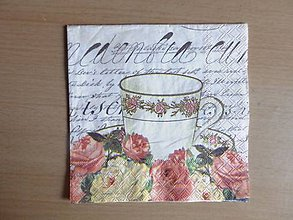 Papier - šálka a ruže - 4446534_