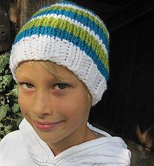 Detské čiapky - pásik na kulíšku - 4450154_