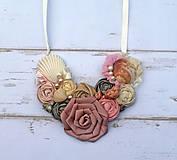 Náhrdelníky - Ručne vyrobený textilný náhrdelník s mušlami a riečnymi  perlami - 4448515_