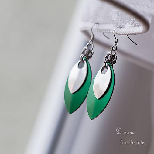 Náušnice Double s malou stříbrnou (Zelené)