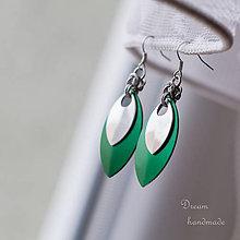 Náušnice - Náušnice Double s malou stříbrnou (Zelené) - 4454129_
