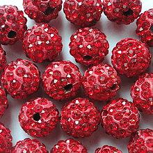 Korálky - Disco guľka Crystal 10mm-1ks (červená) - 4452687_