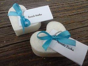 Darčeky pre svadobčanov - svadobné (tyrkysová stuha) - 4453663_