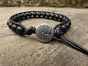 Šperky - Náramok pánsky: čierny ónyx matný - 4452946_