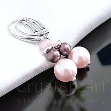 Náušnice - Pink /perlové náušnice ag925/ - 4457651_
