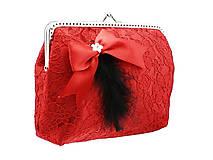 Čipková dámská kabelka červena , taštička   0670