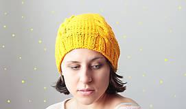 Čiapky - Pletená čiapka- žĺtok - 4463673_