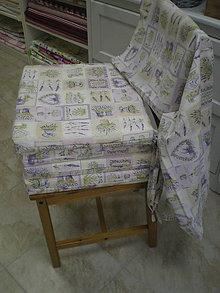 Úžitkový textil - Sedáky a obrus - levanduľové - šili sme na objednávku - 4461501_