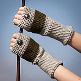 Rukavice - Prúžkované khaki šedé s gombíkom - 4467180_