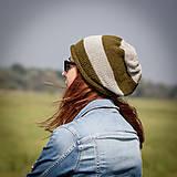 Čiapky - Prúžkovaná khaki šedá - 4467181_