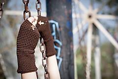 Rukavice - Hnedé rukavice s hríbikom - 4467346_