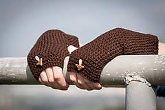 Rukavice - Hnedé rukavice s hríbikom - 4467348_